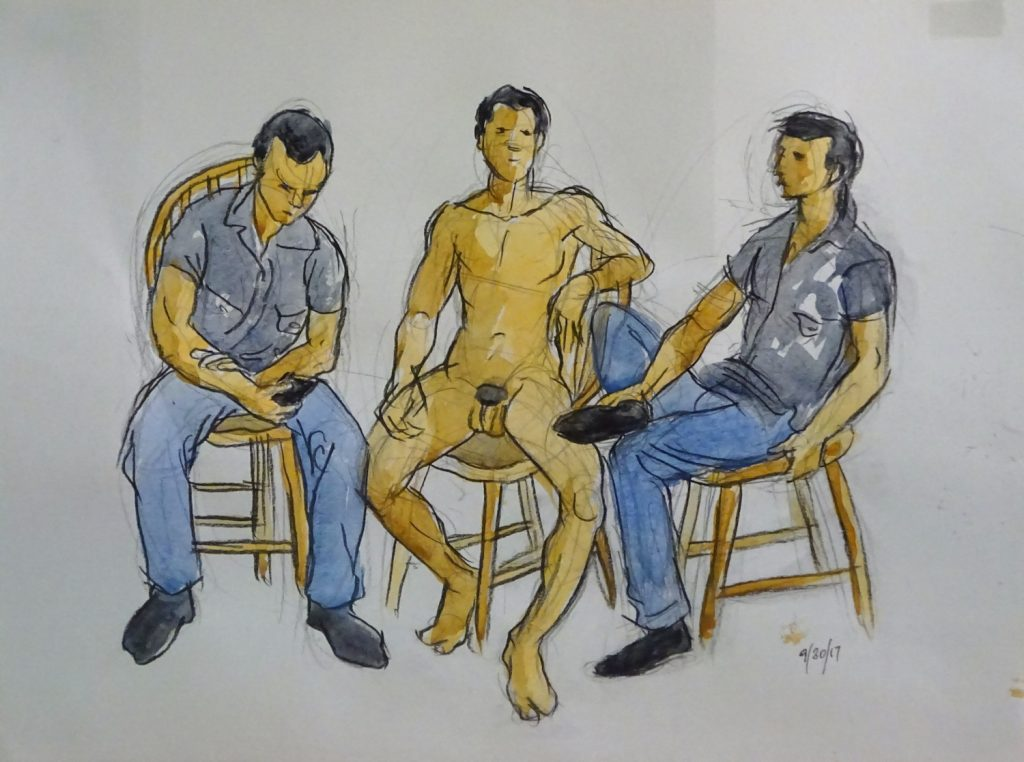 "Drawing of first figure arrangerment of ""Four Men"" painting by Leonard gerwick"