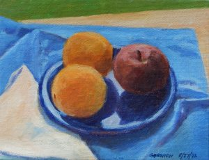 Acrylic painting of fruit on a blue plate, 7X9 inches by Leonard Gerwick with white napkin