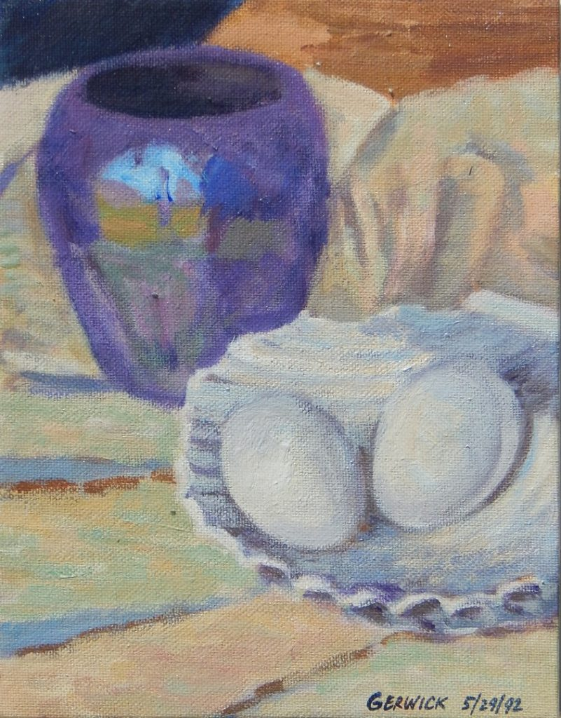 Acrylic painting of two eggs, a white dish and a purple vase, 9X7 inches by Leonard Gerwick