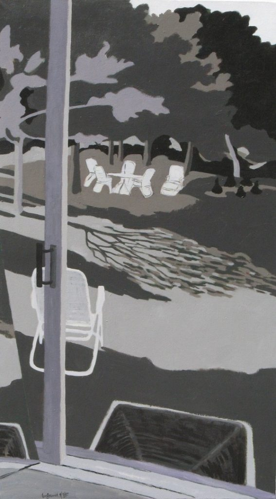 Acrylic painting in black, white and gray of a view of a yard with lawn furniture, 42X24 inches by Leonard Gerwick