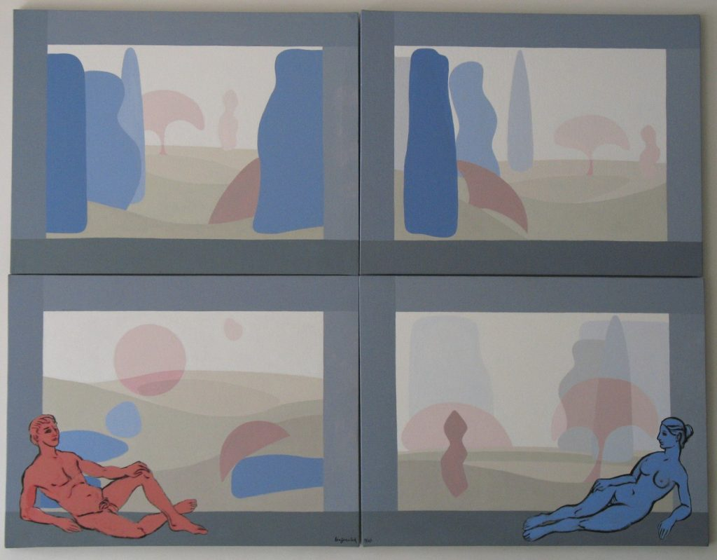 Four acrylic paintings like squares of a quilt, each is a landscape. Each painting is 23X30 inches by Leonard Gerwick