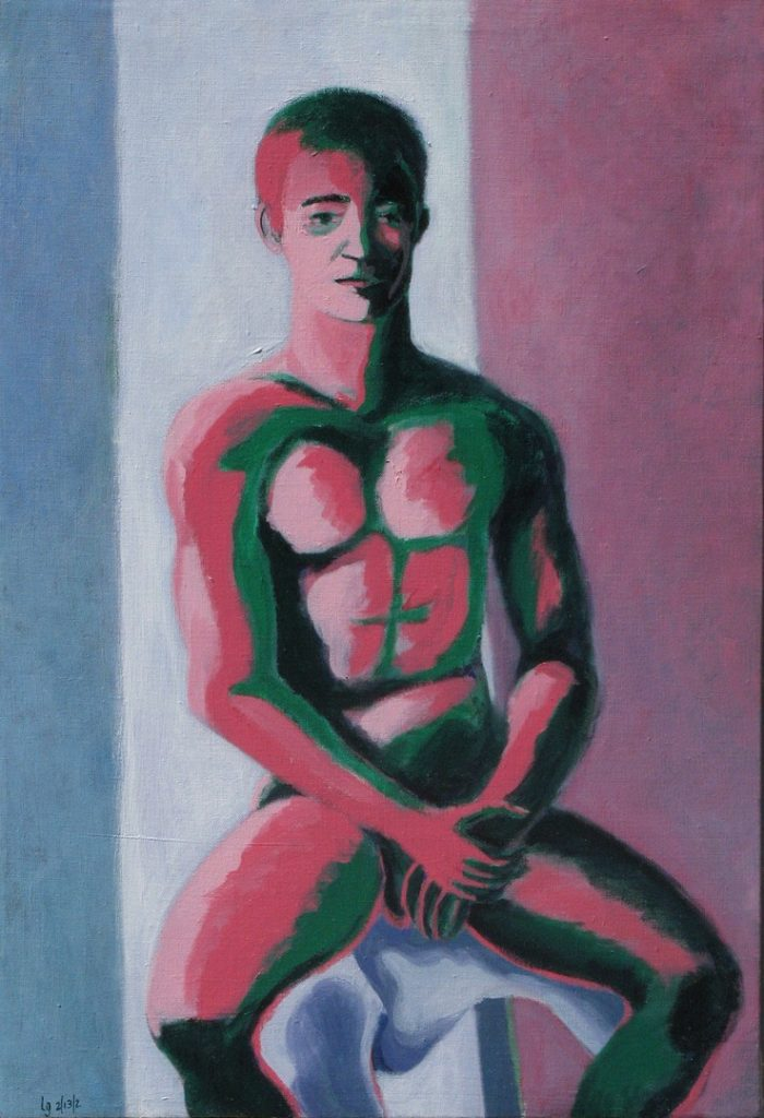 Acrylic painting of a seated naked figure, 25X17 inches by Leonard Gerwick