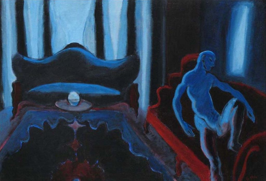 Nude man in a blue abstract room, acrylic painting, 24X33 inches by Leonard Gerwick