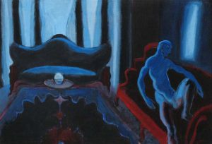 Painting of a nude man in a blue abstract room by Leonard Gerwick