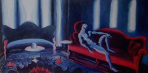 Blue and red room with nude reclined man, acrylic painting, 30X60 inches by Leonard Gerwick