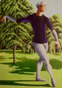 Ballet dancer in a woodland scene