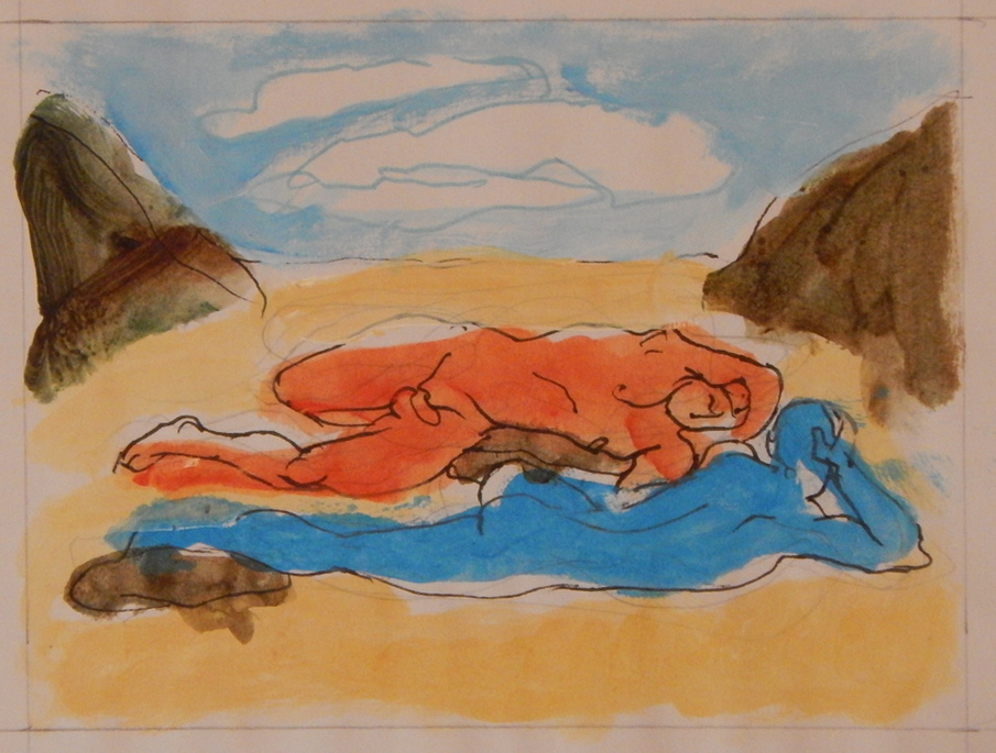 "Marker and watercolor sketch of two nudes for ""The Cove by New England artist, Leonard Gerwick"