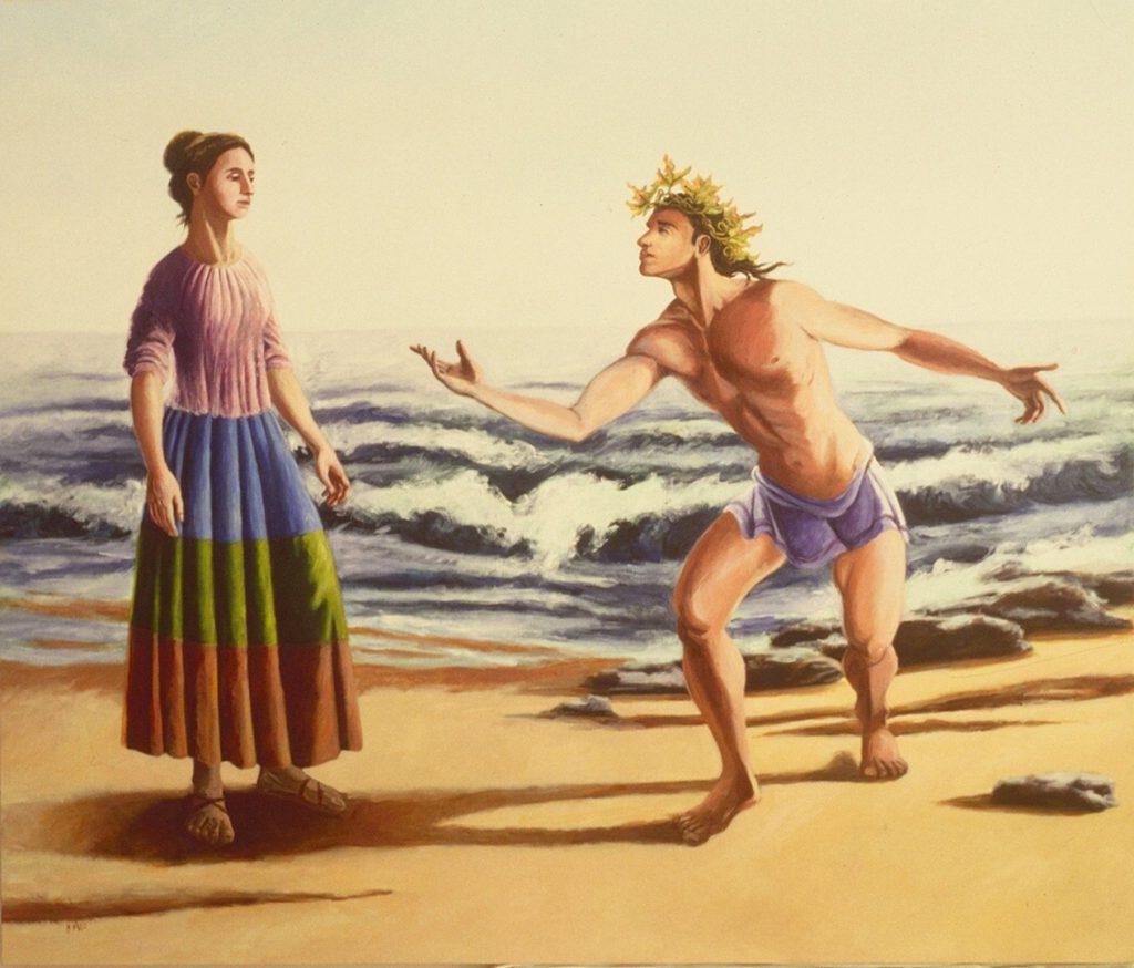 Bacchus' proposal to Ariadne on island of Naxos by New England artist, Leonard Gerwick