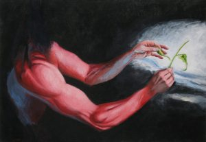 Massive arms create a delicate plant. Acrylic painting, 26X40 inches by Leonard Gerwick