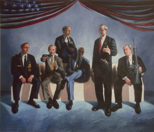 Six prominant member of George W, Bush's government, acrylic painting, 72X84 inches by Leonard Gerwick