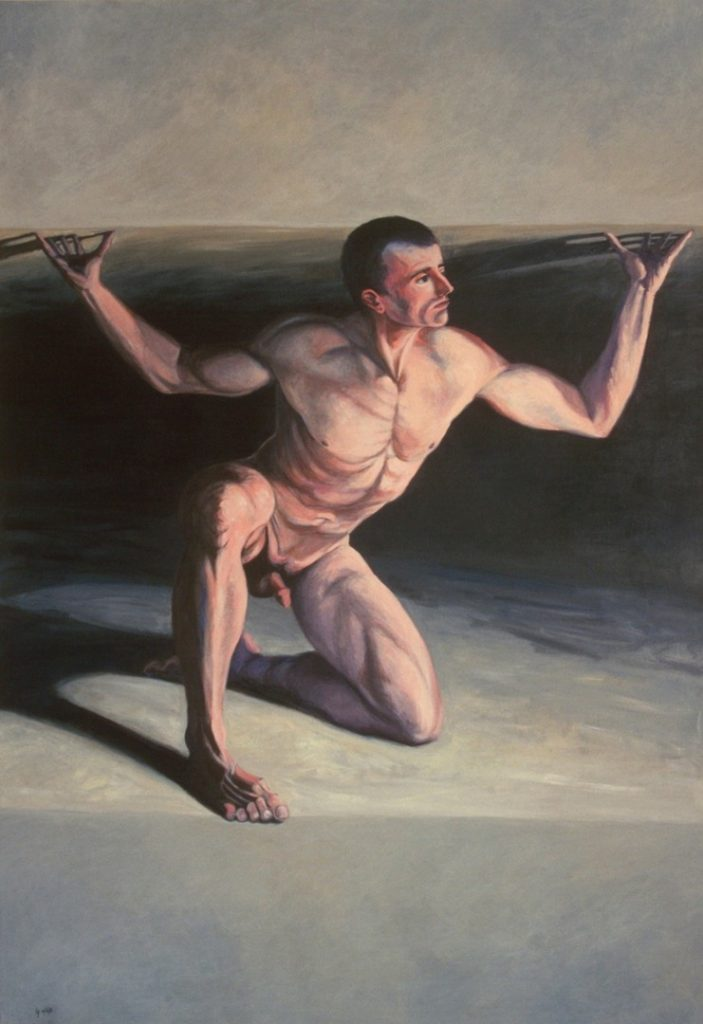 Nude man who symbolizes the worker is trapped in a crevise, acrylic painting, 72X48 inches by Leonard Gerwick