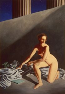 Nude woman who symbolizes Liberty departs. Acrylic painting, 72X48 inches by Leonard Gerwick