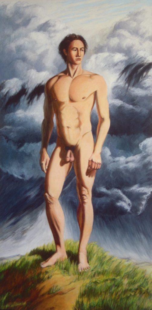 Acrylic pa9inting of nude commander of Persian forces in invasion of Greece, 96X48 inches by Leonard Gerwick