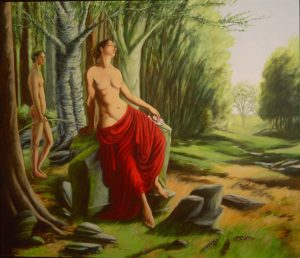 Painting of Venus and son, Cupid oversee a vacant landscape by New England artist, Leonard Gerwick