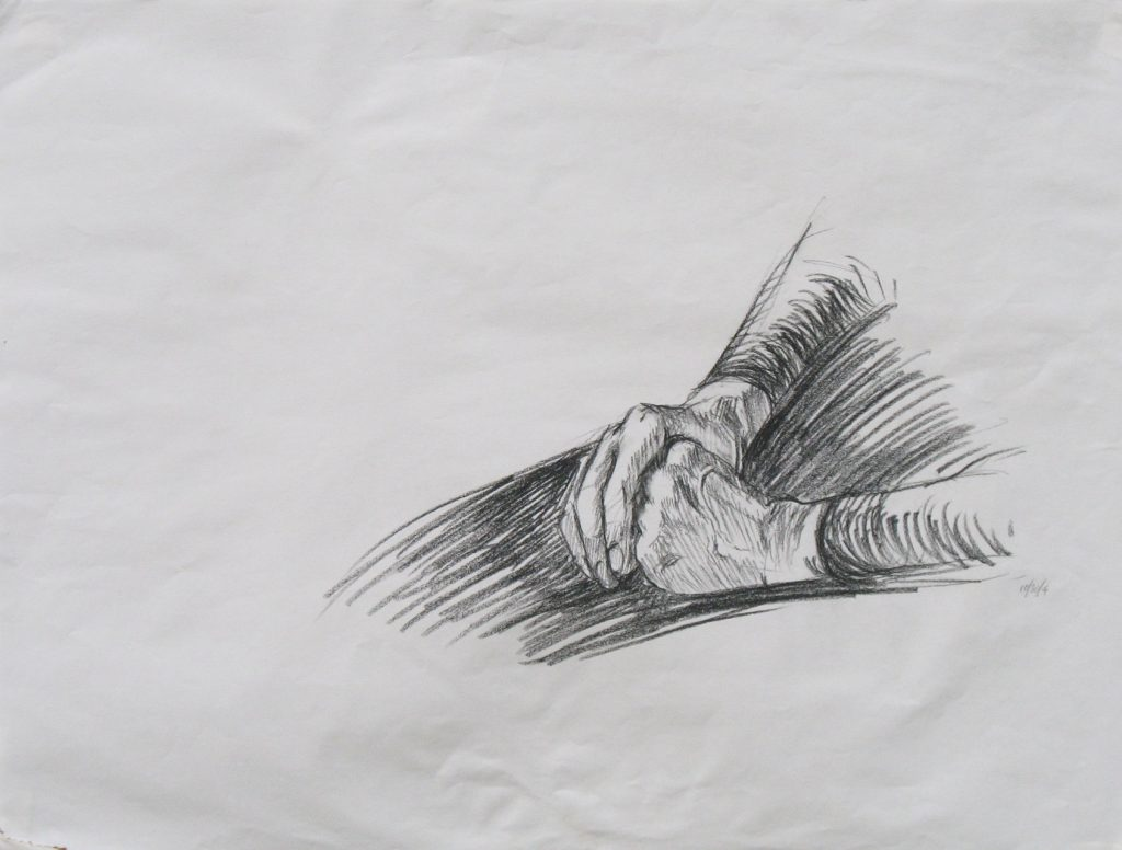 Drawing of hands for Susan B. Anthony portrait painting by new England artist, Leonard Gerwick