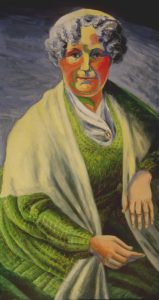 Colorful portrait of Founder of the Women's Movement. Avrylic painting, 72X36 inches by Leonard Gerwick