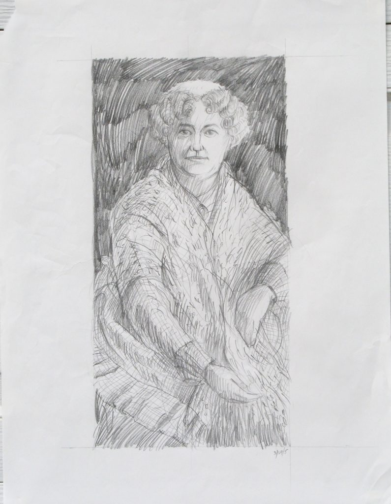 Charcoal pencil drawing of Elizabeth Stanton for painting by Leonard Gerwick