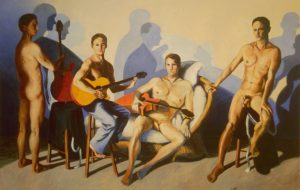 Men standing against their own shadows on wall by New England artist,Leonard Gerwick