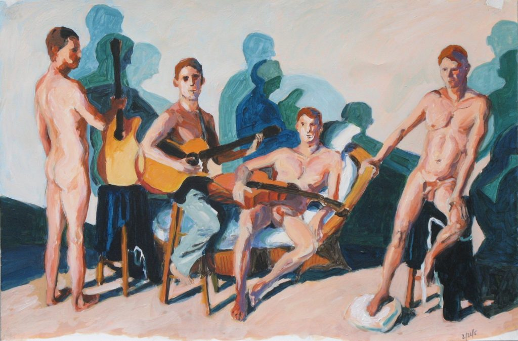 Study 3 for Four Men with Guitars