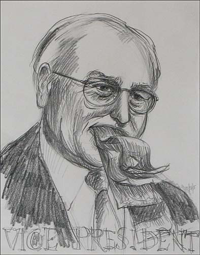 "Drawing of Dick Cheney for painting ""Vice president and President"" by Leonard Gerwick"