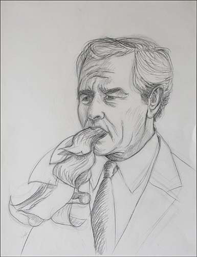 "Drawing of George W. Bush for painting ""Vice President and President"" by Leonard Gerwick"