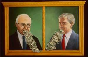 Dick Cheney and George W. Bush vomiting money. Two acrylic paintings with collage set in a gold wooden frame, 32X45 inches by Leonard Gerwick