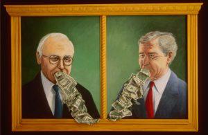 Dick Cheney and George W. Bush vomiting money