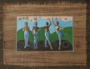 Painting of a dancer in colorful background on papyrus mounted on wood by Leonard Gerwick