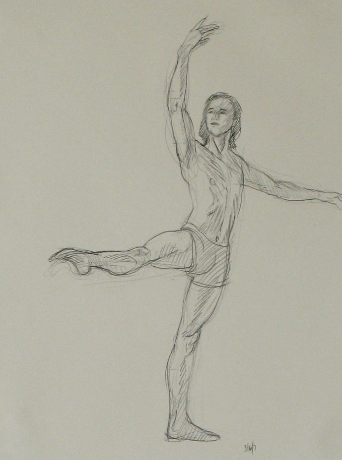 "First drawing of a male ballet dancer for painting ""Dancer in 5 Posirions"" by Leonard Gerwick"