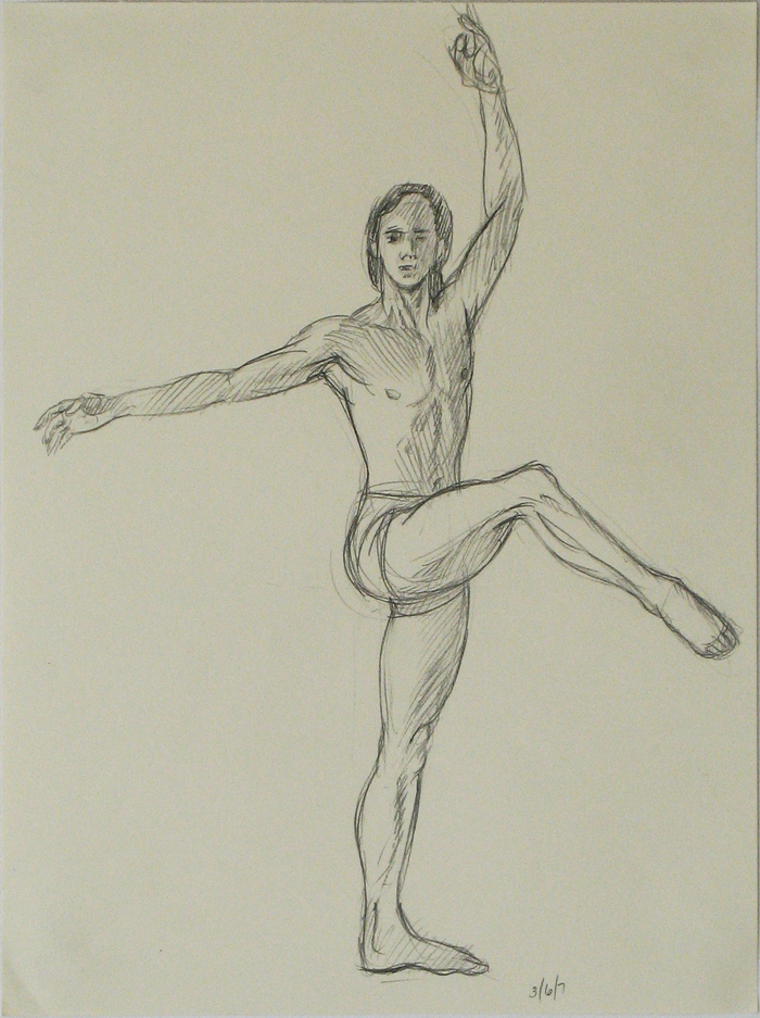 "Second drawing of male ballet dancer for painting by Leonard Gerwick, ""Dancer in 5 Positions"""