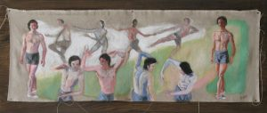 Dancer painted ten times in whirling dance mounted on wood, by New England artist, Leonard Gerwick