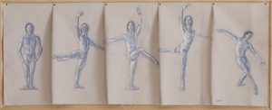 Dancer in blue line and wash on folded canvas tacked to wood by Leonard Gerwick