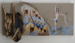 Three canvases and wood with painting of two dancers, 25X44 inches by Leonard Gerwick