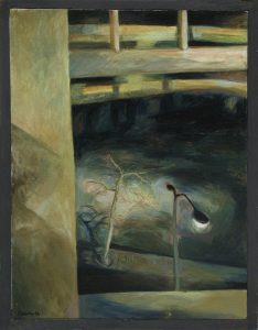 Oil painting of a dark street with a lamppost outside a window, 24X18 inches by Leonard Gerwick