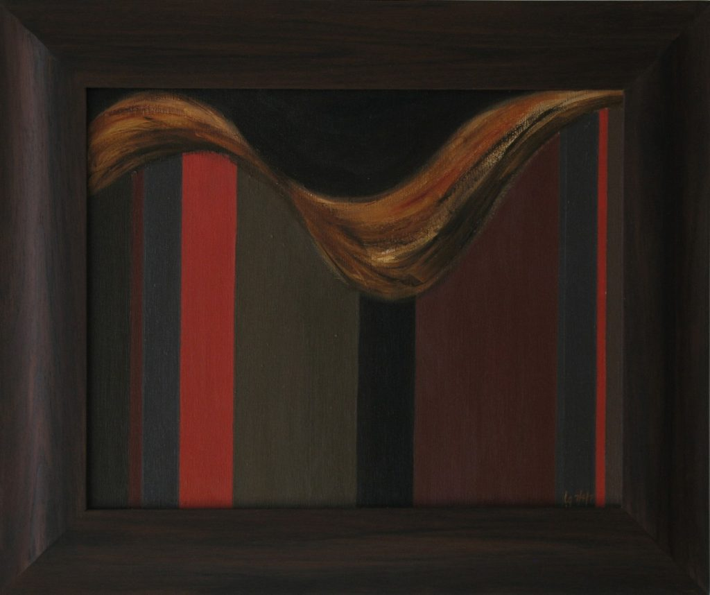 Acrylic painting of repeating verticals of varying widths; above is a swirling shape. Black walnut frame, 19X23 inches by Leonard Gerwick