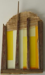Wood verticals before yellow orange painted shapes by New England artist, Leonard Gerwick