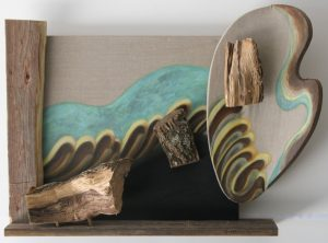 Wood, bark and acrylic painting on two canvases by New England artist, Leonard Gerwick