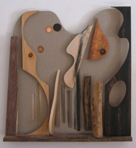 Shaped linen canvas with acrylic paint and wood by Leonard Gerwick