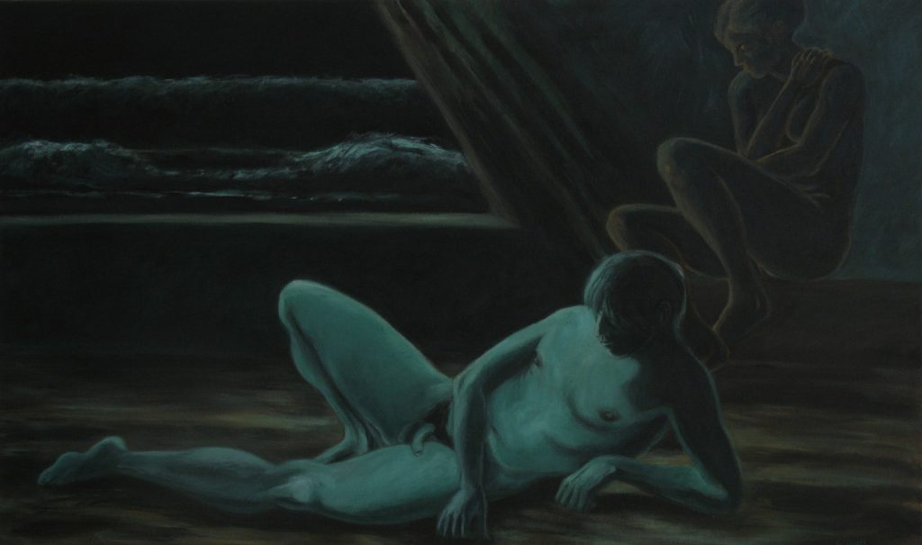 Acrylic painting of two nudes awaiting a great wave, 36X60 inches by Leonard Gerwick