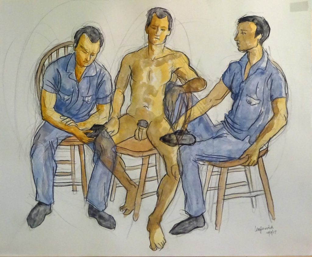 "Second drawing of seated men for painting ""Four Men"" by new England artist, Leonard Gerwick"