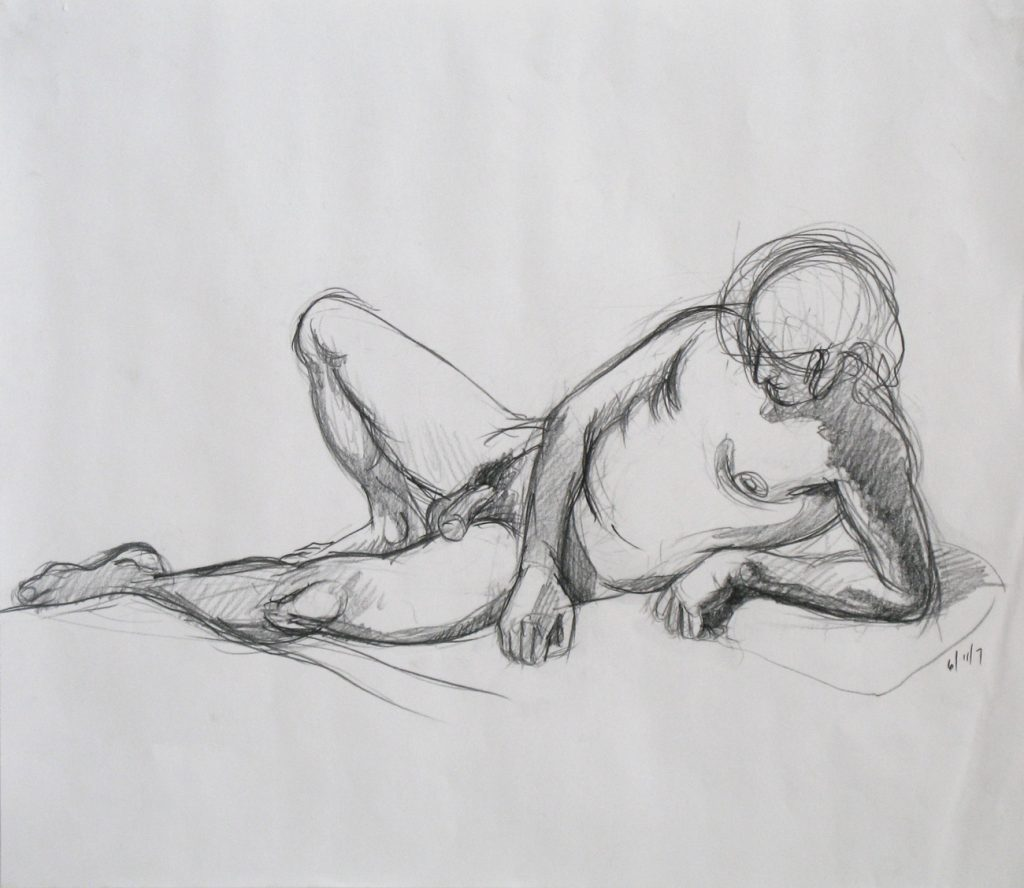 "Drawing of desponant model used in the painting ""The Deluge"" by new England artist, Leonard Gerwick"