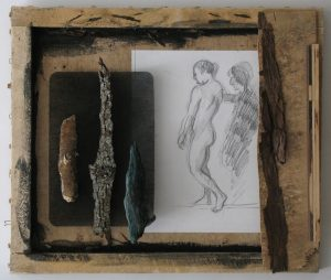 Charcoal drawing of a nude man as part of wood and paper assemblage by Leonard Gerwick