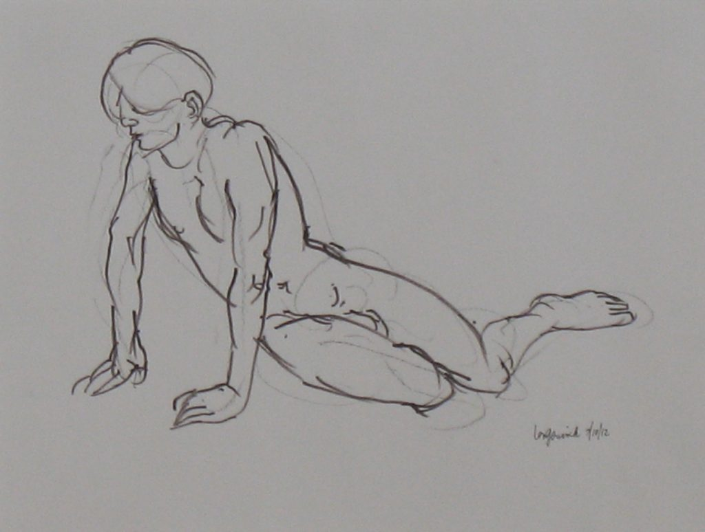 Leaning young man drawing used for image of Narcissus by new England artist, Leonard Gerwick