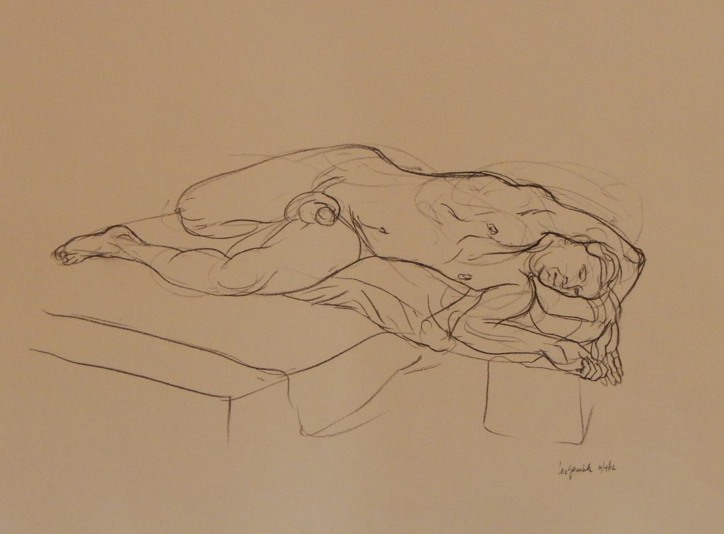 "Life drawing of nude model used in painting ""The Cove"" by new England artist, Leonard Gerwick"
