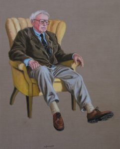 painting of an older man in an upholstered chair by Leonard Gerwick