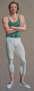 Acrylic painting of a full body portrait of male dancer by Leonard Gerwick