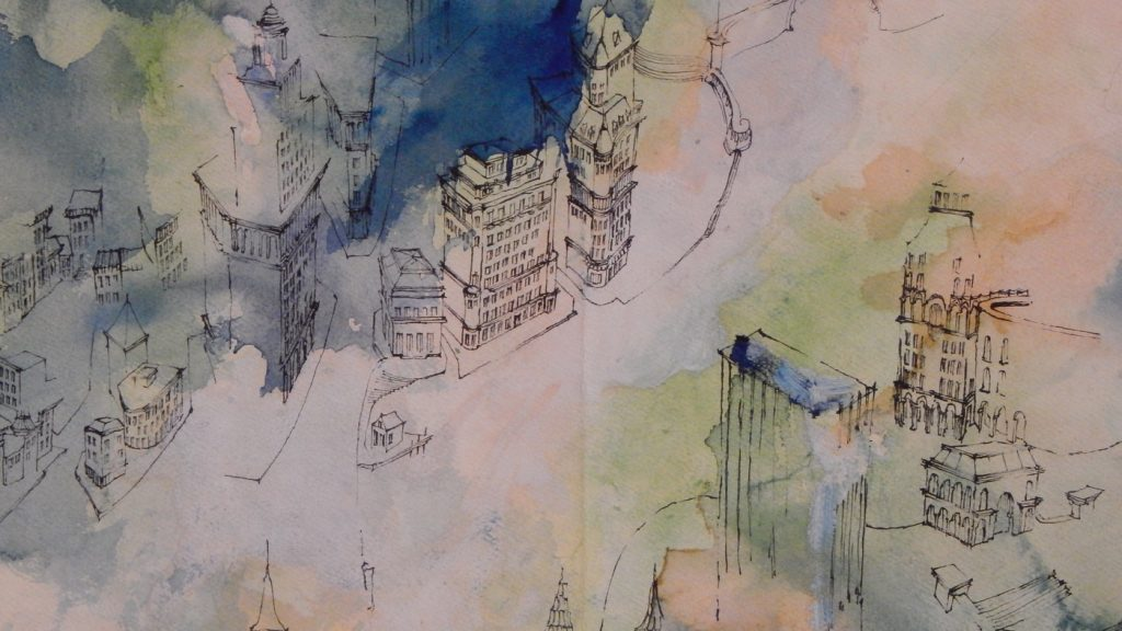 detail of the city with watercolor shapes
