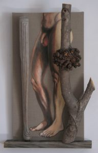 """Human, piano and tree 'legs"""" in an assemblage, Acrylic and wood against a raw linen canvas by Leonard Gerwick"""