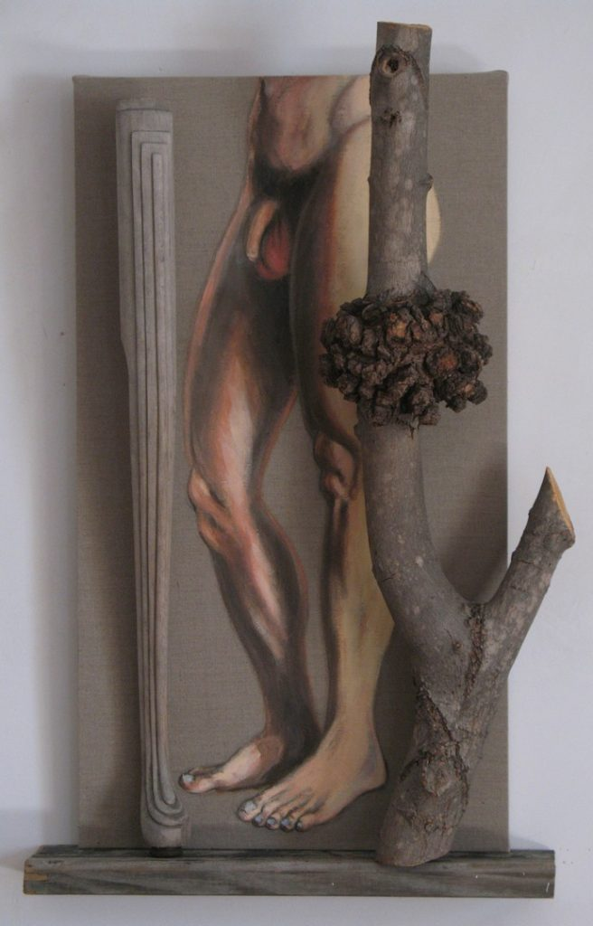 "Human, piano and tree 'legs"" in an assemblage, Acrylic and wood against a raw linen canvas, 38X24 inches by Leonard Gerwick"
