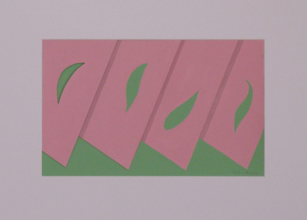 Pink and green collage that suggests slices of watermellon, framed and under glass by Leonard Gerwick